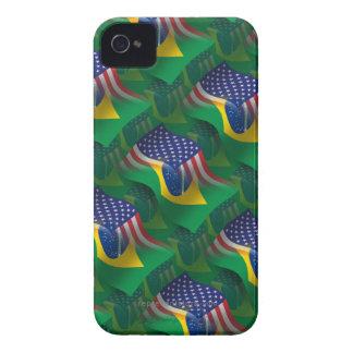 Brazilian-American Waving Flag iPhone 4 Cases
