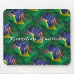 Brazilian-American Waving Flag Mousemats