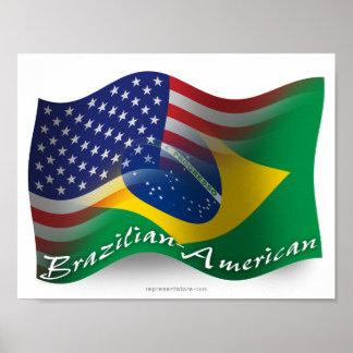 Brazilian-American Waving Flag Poster