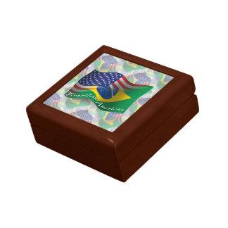 Brazilian-American Waving Flag Small Square Gift Box