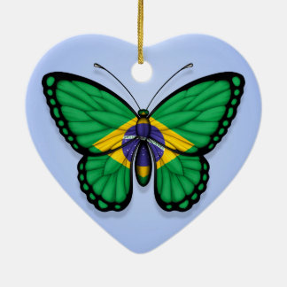 Brazilian Butterfly Flag on Blue Christmas Ornament