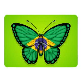 Brazilian Butterfly Flag on Green 13 Cm X 18 Cm Invitation Card