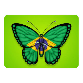 Brazilian Butterfly Flag on Green Card