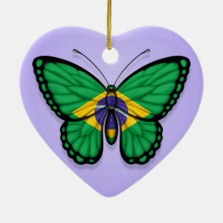 Brazilian Butterfly Flag on Purple Christmas Ornament