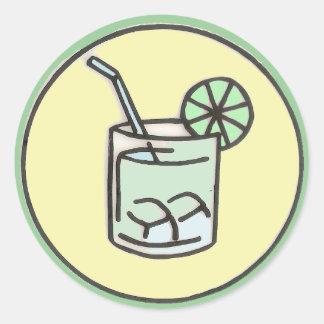 brazilian caipirinha cocktail round sticker