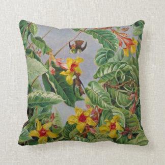Brazilian Climbing Shrub and Humming Birds Throw Pillow