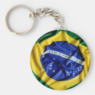 Brazilian flag basic round button key ring