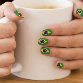 Brazilian flag fingernail transfer