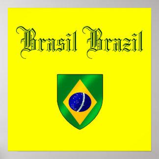 Brazilian flag of Brazil country shield gifts Print