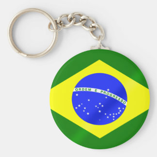 Brazilian flag of Brazil gifts and tees Basic Round Button Key Ring