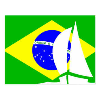 Brazilian Flag Sailing Boat Brazil Nautical Postcard