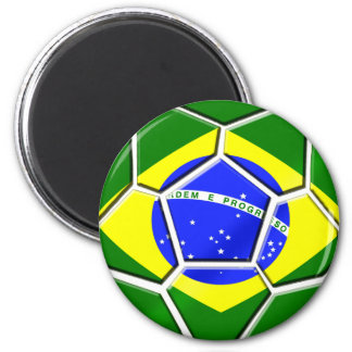 Brazilian flag Samba futebol soccer ball gifts 6 Cm Round Magnet