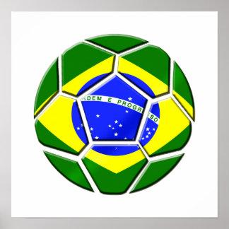 Brazilian flag Samba futebol soccer ball gifts Poster