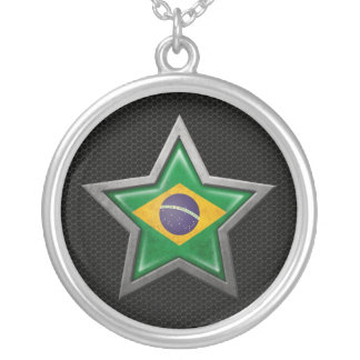 Brazilian Flag Star with Steel Mesh Effect Jewelry