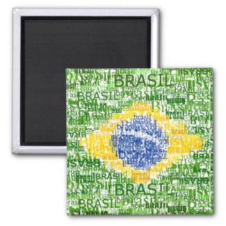 Brazilian Flag - Textual Brasil Square Magnet