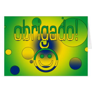 Brazilian Gifts Thank You / Obrigado + Smiley Face Greeting Card