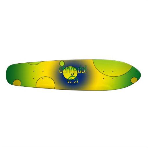 Brazilian Gifts Thank You / Obrigado + Smiley Face Custom Skate Board