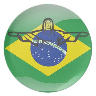 Brazilian glossy flag plate