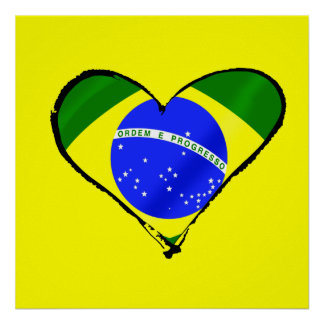 Brazilian heart Brazil flag love heart Poster