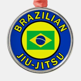 Brazilian Jiu Jitsu Silver-Colored Round Decoration