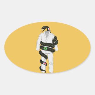 Brazilian Jiu Jitsu Snake Oval Sticker