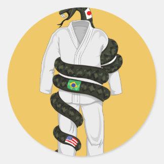 Brazilian Jiu Jitsu Snake Round Sticker