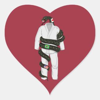 Brazilian Jiu Jitsu Snake Heart Stickers