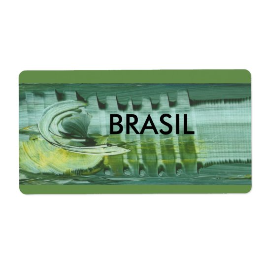 Brazilian label modern art in 3D ADHESIVE Shipping Label