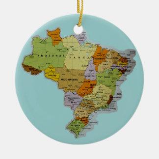 Brazilian Map Round Ceramic Decoration