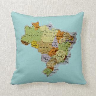 Brazilian Map Throw Pillow