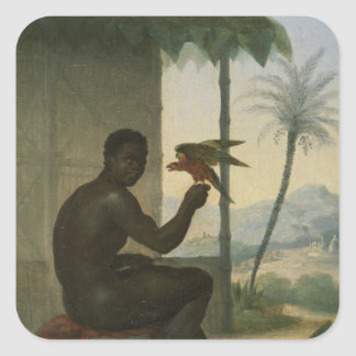 Brazilian negro with Tropical Bird Square Sticker