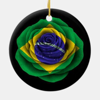 Brazilian Rose Flag on Black Christmas Ornament