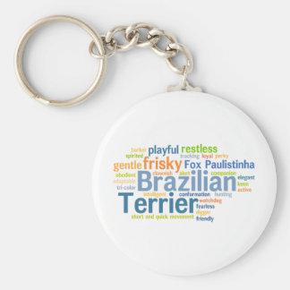 Brazilian Terrier Basic Round Button Key Ring