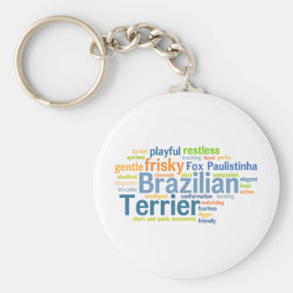 Brazilian Terrier Basic Round Button Key Ring