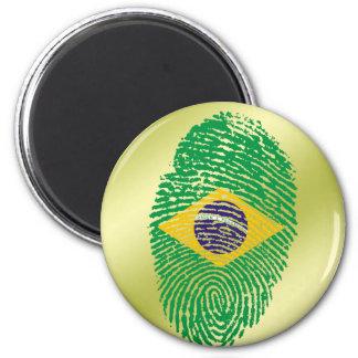Brazilian touch fingerprint flag 6 cm round magnet