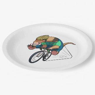 Brazilian Tree Anteater Riding A Bicycle Cartoon 9 Inch Paper Plate