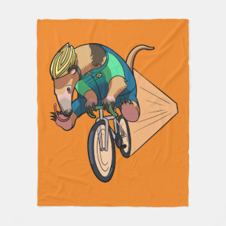 Brazilian Tree Anteater Riding A Bicycle Cartoon Fleece Blanket