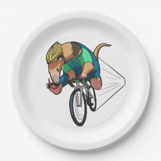 Brazilian Tree Anteater Riding A Bicycle Cartoon Paper Plate