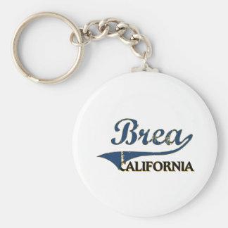 Brea California City Classic Basic Round Button Key Ring