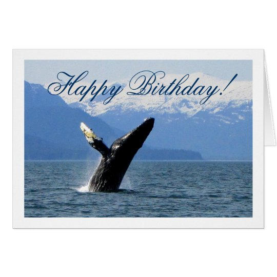 Breaching Humpback; Happy Birthday Card