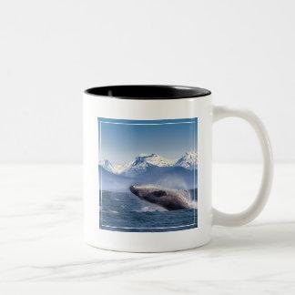 Breaching Humpback Whale In Alaska Two-Tone Coffee Mug