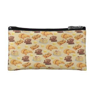 Bread and Pancakes Pattern Makeup Bag