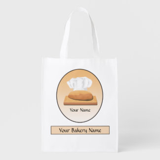 Bread Bakery Chef Baker Hat Bag Reusable Grocery Bags