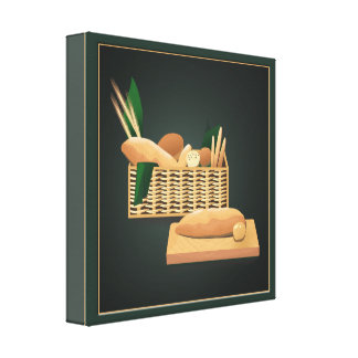 Bread Basket Kichen Art Baked Bread Hunter Green Stretched Canvas Prints