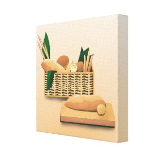 Bread Basket Kichen Art Baked Bread Peach Canvas Prints