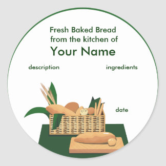 Bread Basket Product Label Round Sticker