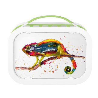 Bread box with handpainted Chameleon