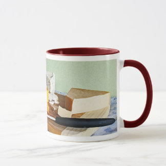 Bread Grapes Cheddar and Blue Cheeses Still Life Mug