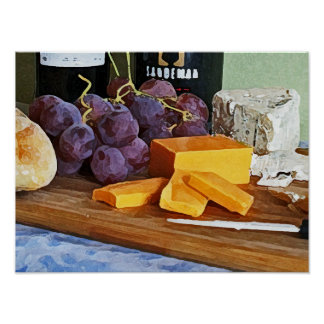 Bread Grapes Cheddar and Blue Cheeses Still Life Poster