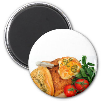Bread Herbs Tomatoes 6 Cm Round Magnet